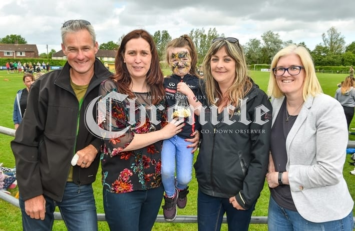 Comber Rec FC held a fun day for Kodi's Krew, a charity which is raising funds for Kodi Brown from Killinchy who require's brain tumour treatment.Pictured are Matt Dorman, Karen Drennan, Darcy Drennan, Emma Dorman and Andrea Gilles . SG63-30-05-19