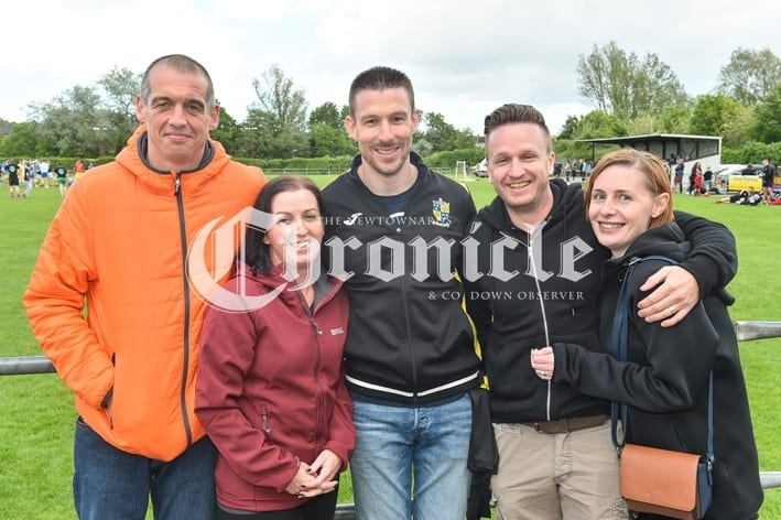 Comber Rec FC held a fun day for Kodi's Krew, a charity which is raising funds for Kodi Brown from Killinchy who require's brain tumour treatment.Pictured are Ian Glover, Catherine Glover, Harry Russell, Neill Drysdale and Sarah Russell. SG65-30-05-19
